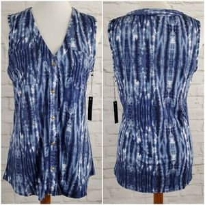 BCBG Maxazria Blouse Tie Dye Blue White V Neck